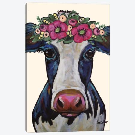 Cow - Georgia Flower Crown Canvas Print #HHS188} by Hippie Hound Studios Art Print