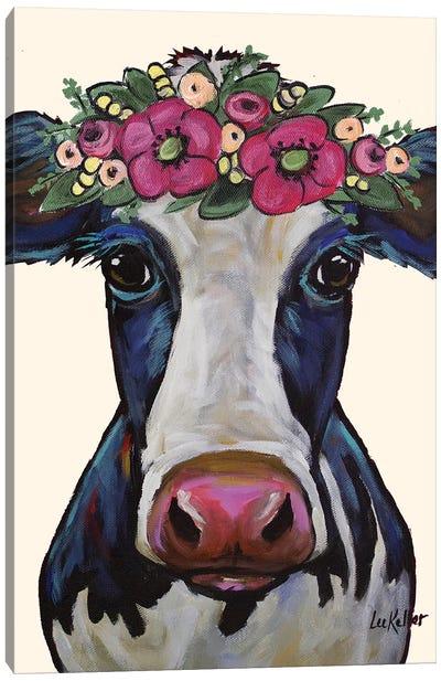 Cow - Georgia Flower Crown Canvas Art Print