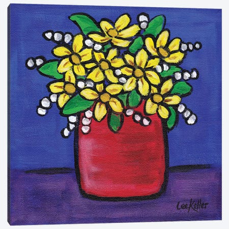 Flower In Pot Navy II Canvas Print #HHS194} by Hippie Hound Studios Canvas Print
