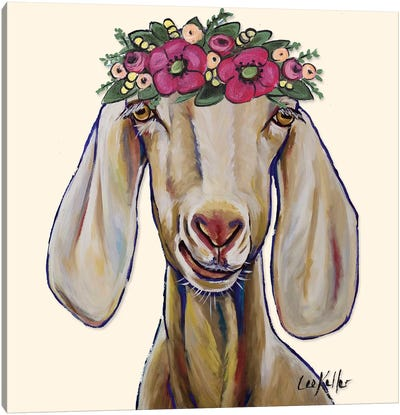 Goat - Margot Flowers Canvas Art Print