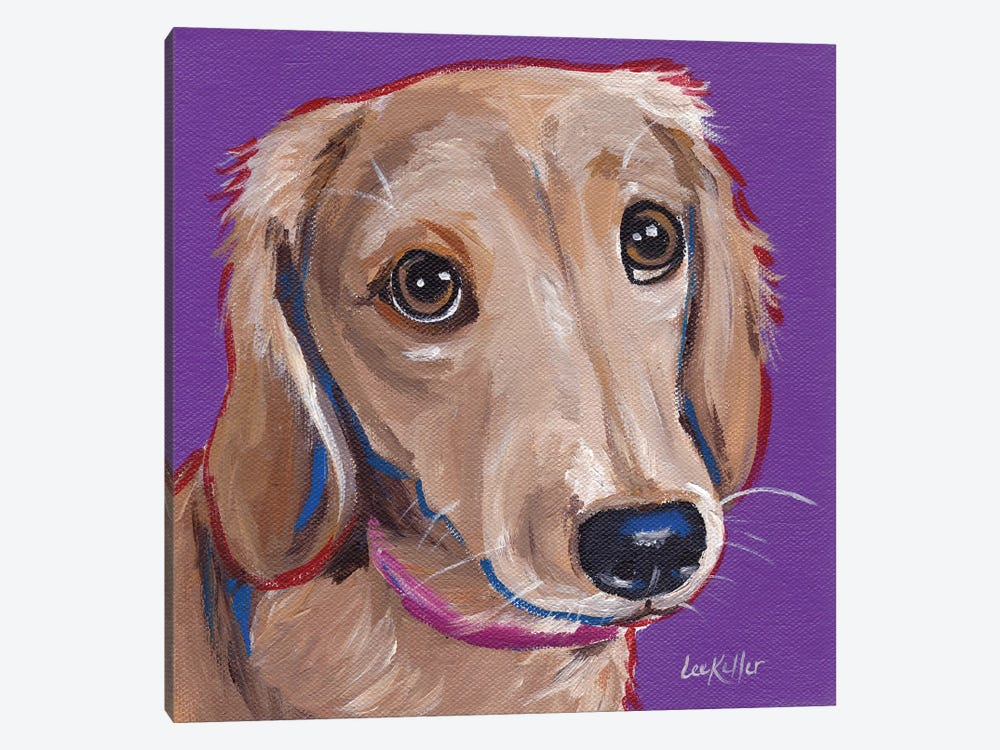 Daschund On Purple by Hippie Hound Studios 1-piece Canvas Art