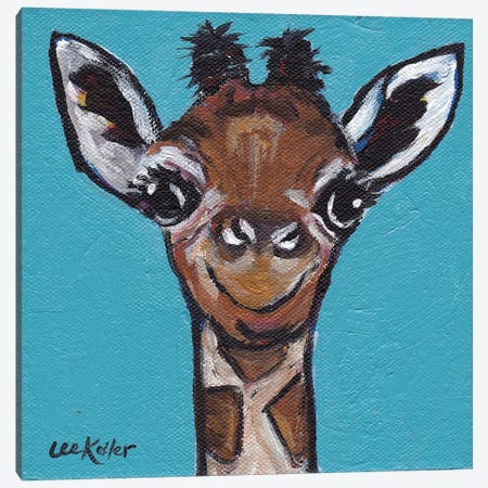 Baby Cakes The Giraffe Canvas Print #HHS1} by Hippie Hound Studios Canvas Artwork