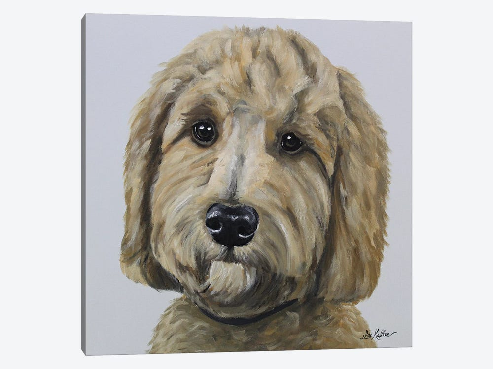 Goldendoodle On Gray by Hippie Hound Studios 1-piece Canvas Print