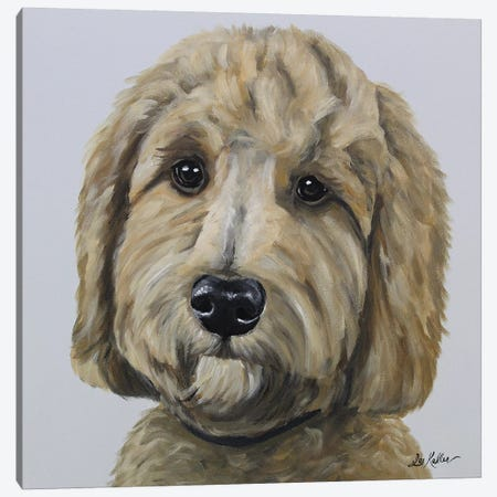 Goldendoodle On Gray Canvas Print #HHS201} by Hippie Hound Studios Canvas Artwork