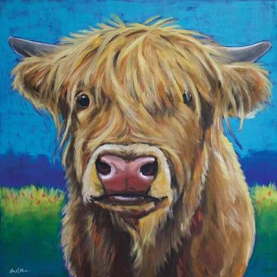 Highland Cow Background Art Print By Hippie Hound Studios