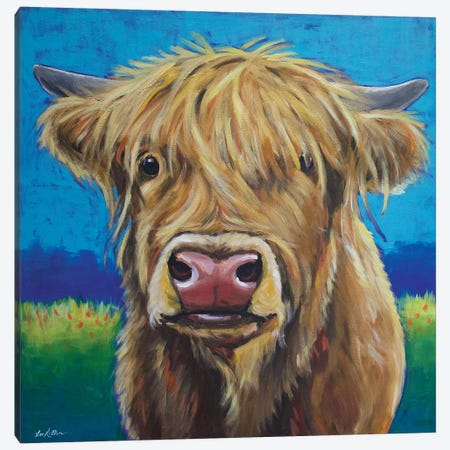 Highland Cow Background Canvas Print #HHS202} by Hippie Hound Studios Canvas Artwork