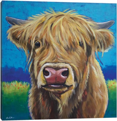 Highland Cow Background Canvas Art Print