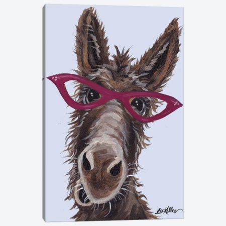 Donkey With Glasses On Gray Canvas Print #HHS20} by Hippie Hound Studios Canvas Wall Art