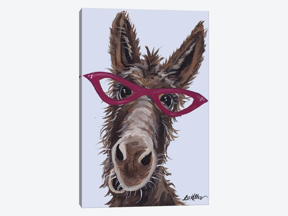 Donkey With Glasses On Gray by Hippie Hound Studios 1-piece Canvas Artwork