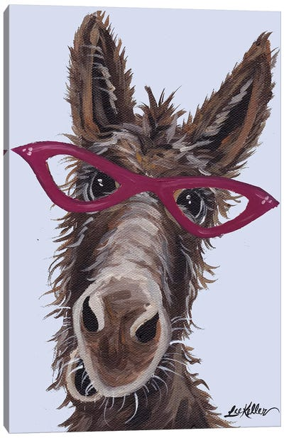 Donkey With Glasses On Gray Canvas Art Print