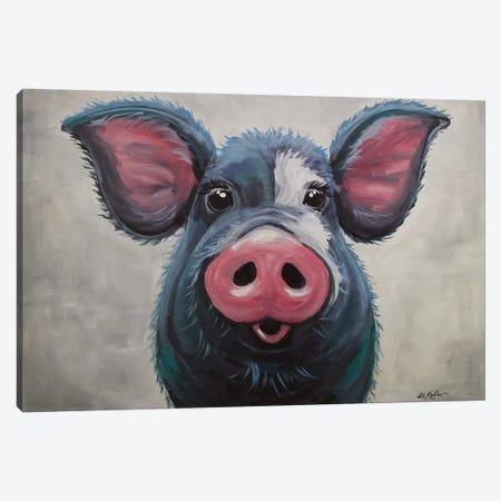 Pig - Lulu Canvas Print #HHS211} by Hippie Hound Studios Canvas Print