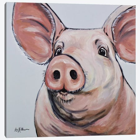 Pig - Mildred Canvas Print #HHS212} by Hippie Hound Studios Canvas Art Print