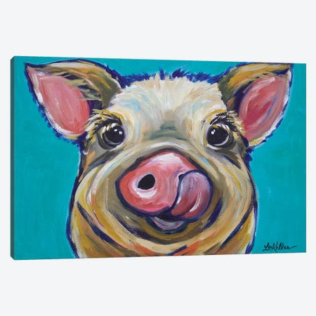 Pig - Turquoise Tongue Canvas Print #HHS213} by Hippie Hound Studios Art Print