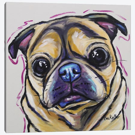 Pug - Josie Colorful Canvas Print #HHS214} by Hippie Hound Studios Canvas Artwork