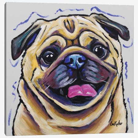 Pug - Napoleon Canvas Print #HHS215} by Hippie Hound Studios Canvas Art