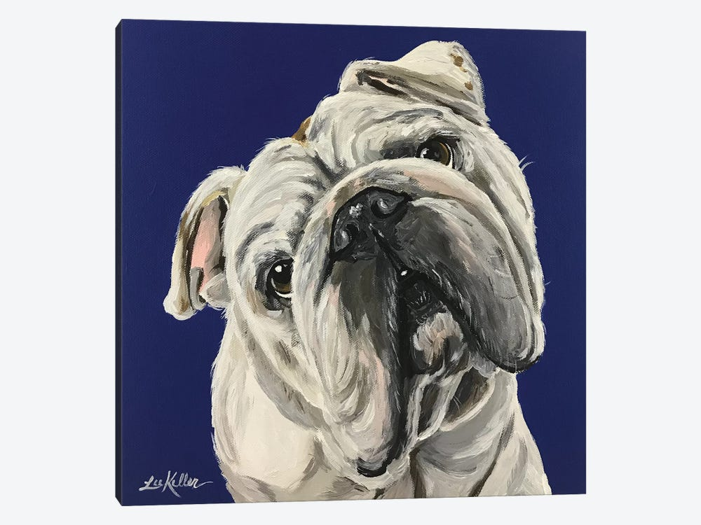 English Bulldog On Blue by Hippie Hound Studios 1-piece Canvas Print