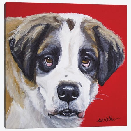 Saint Bernard On Red Canvas Print #HHS220} by Hippie Hound Studios Canvas Wall Art