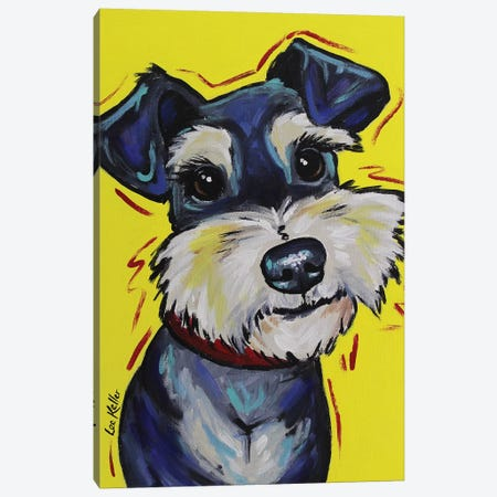 Schnauzer On Yellow - Mr Foozootie Canvas Print #HHS222} by Hippie Hound Studios Canvas Wall Art
