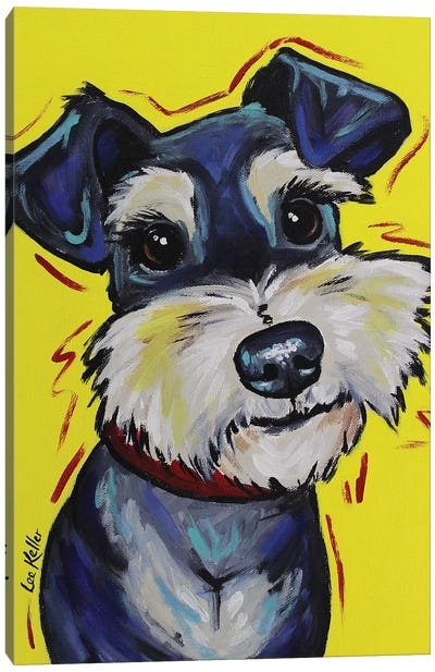 Schnauzer On Yellow - Mr Foozootie Canvas Art Print
