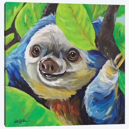 Sloth - Speedy Canvas Print #HHS225} by Hippie Hound Studios Art Print