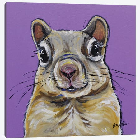 Squirrel Painting On Lavendar Canvas Print #HHS226} by Hippie Hound Studios Canvas Print