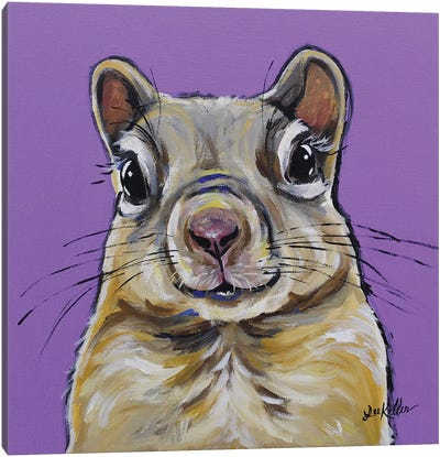 Squirrel Painting On Lavendar Canvas Art Print
