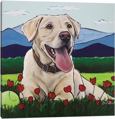 Yellow Lab 'Happy Place' Canvas Art Print