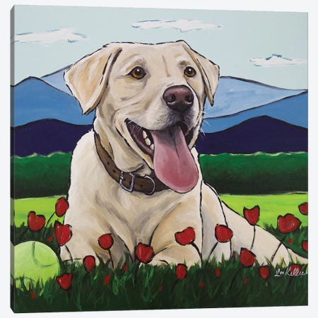 Yellow Lab 'Happy Place' Canvas Print #HHS231} by Hippie Hound Studios Canvas Art Print