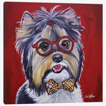 Yorkie Glasses And Bowtie Canvas Print #HHS233} by Hippie Hound Studios Canvas Art Print