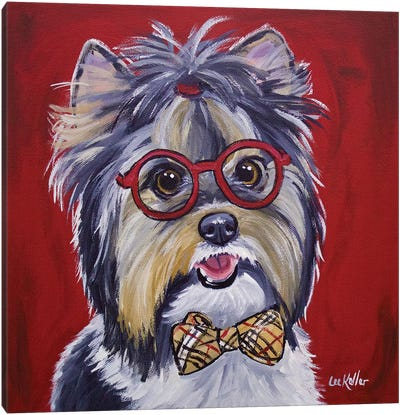 Yorkie Glasses And Bowtie Canvas Art Print