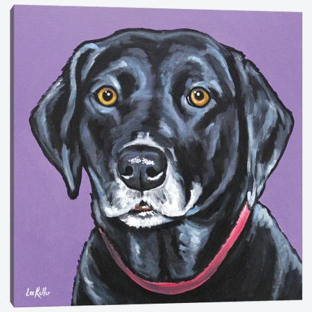 Black Lab - Fifi Canvas Print #HHS238} by Hippie Hound Studios Canvas Print