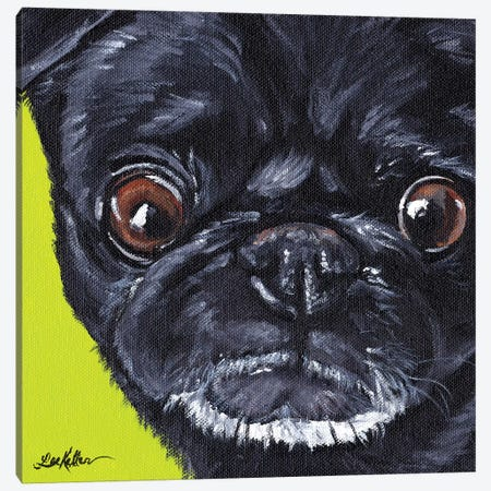 Black Pug On Green Canvas Print #HHS240} by Hippie Hound Studios Canvas Art