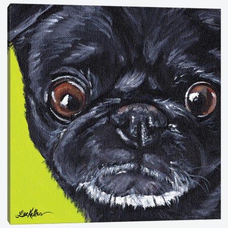 Black Pug On Green Canvas Print #HHS240} by Hippie Hound Studios Canvas Art