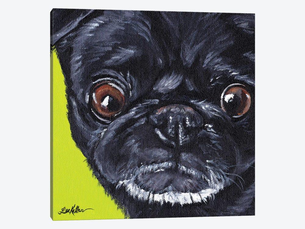Black Pug On Green by Hippie Hound Studios 1-piece Canvas Wall Art
