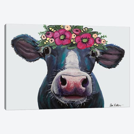Cow - Clara Belle With Flower Crown On Gray Canvas Print #HHS246} by Hippie Hound Studios Canvas Print