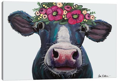 Cow - Clara Belle With Flower Crown On Gray Canvas Art Print