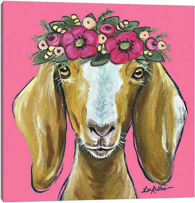 Goat  - Mandy Flower Crown On Pink Canvas Art Print