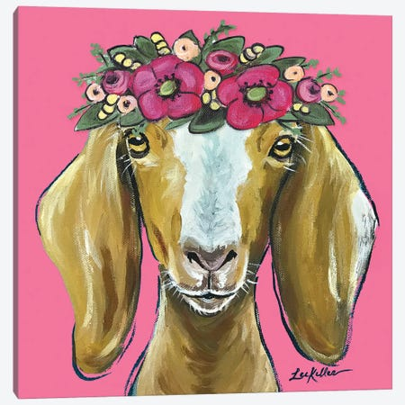 Goat  - Mandy Flower Crown On Pink Canvas Print #HHS250} by Hippie Hound Studios Canvas Print