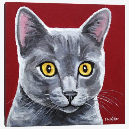 Gray Cat - Oliver Canvas Print #HHS253} by Hippie Hound Studios Canvas Art Print