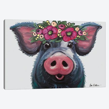 Pig - Lulu With Flower Crown Canvas Print #HHS259} by Hippie Hound Studios Art Print