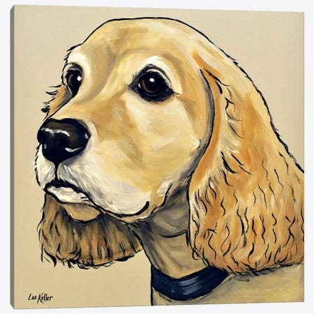 Cocker Spaniel On Tan 3-Piece Canvas #HHS274} by Hippie Hound Studios Canvas Artwork