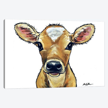Bambi The Cow On White Canvas Print #HHS275} by Hippie Hound Studios Canvas Art