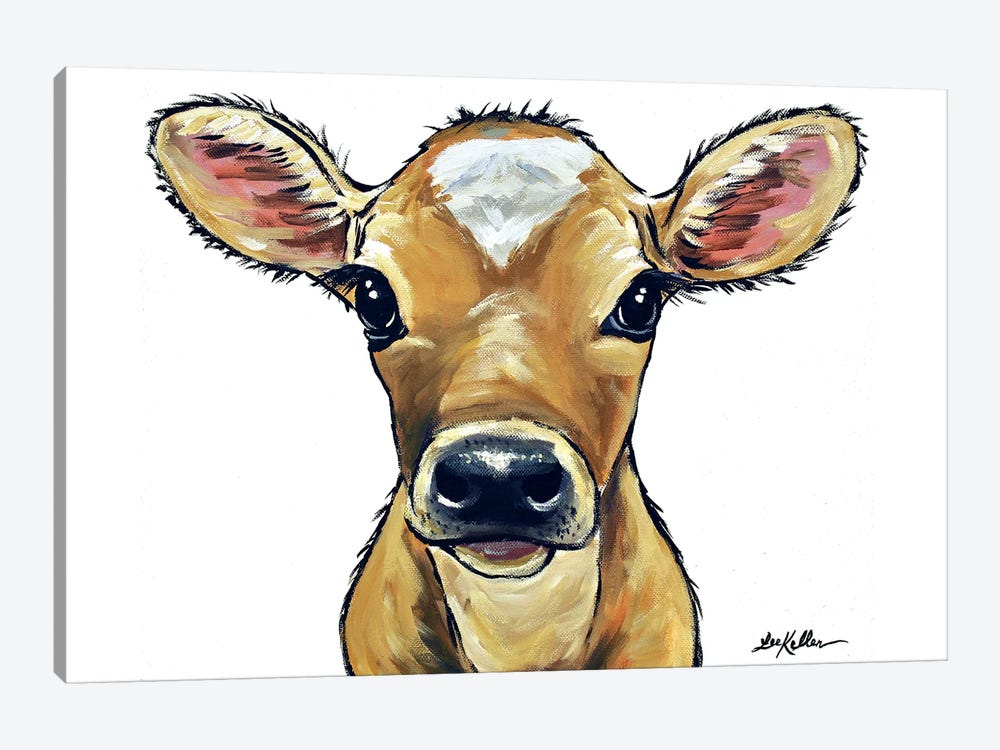 Bambi The Cow On White by Hippie Hound Studios 1-piece Canvas Wall Art