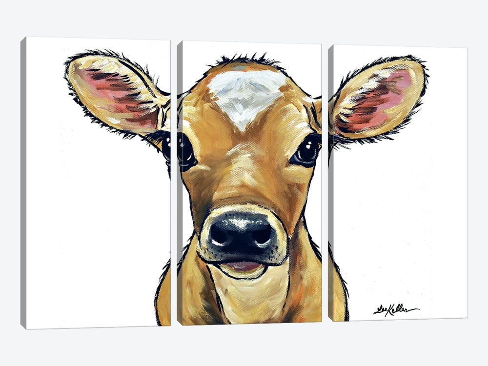 Bambi The Cow On White by Hippie Hound Studios 3-piece Canvas Wall Art