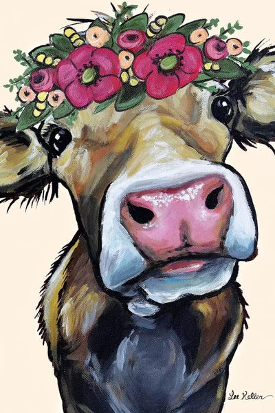 Hazel The Cow Flower Crown On Cream Ca Hippie Hound