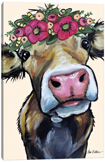 Hazel  The Cow Flower Crown On Cream Canvas Art Print