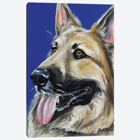 German Shepherd On Royal Blue Canvas Print #HHS283} by Hippie Hound Studios Canvas Art