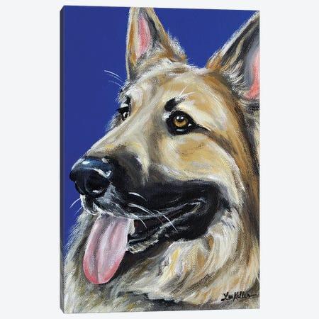 German Shepherd On Royal Blue Canvas Print #HHS283} by Hippie Hound Studios Canvas Art