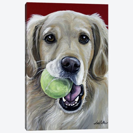Sophie The Golden Retriever With Ball Canvas Print #HHS286} by Hippie Hound Studios Canvas Art Print