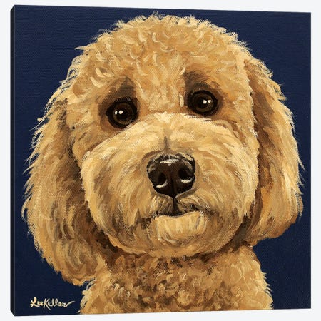 Goldendoodle On Navy I Canvas Print #HHS289} by Hippie Hound Studios Canvas Artwork
